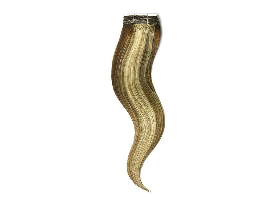 Haar extensions weave (steil) 50cm (110gram) -  Kleur (#6/613) Light Brown/Bleach Blonde Mix