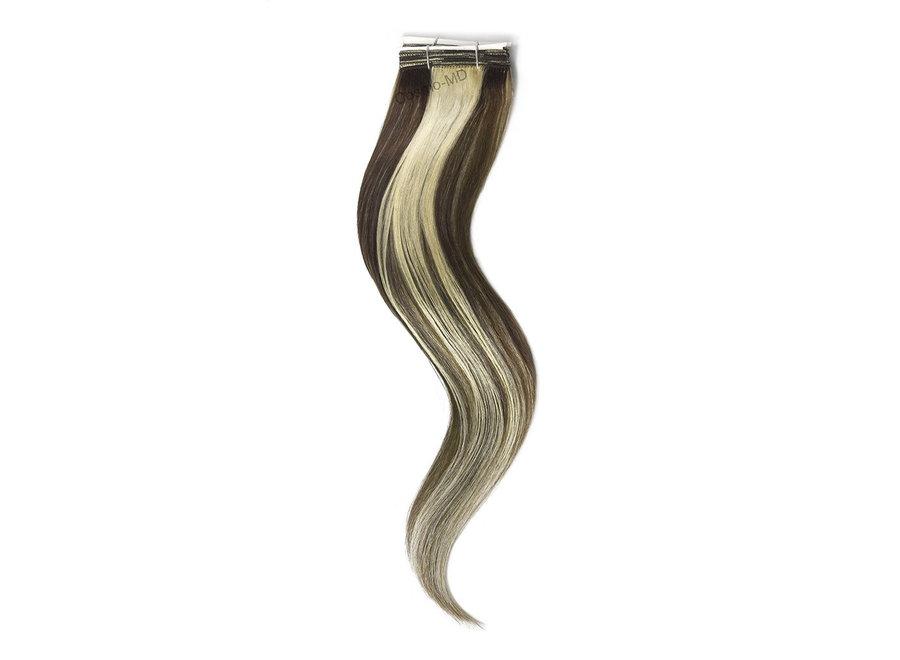 Haar extensions  weave (steil) 50cm (110gram)  - Kleur (#4/613) Medium Brown/Bleach Blonde Mix