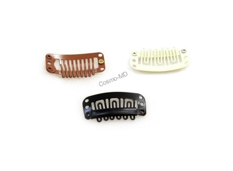 Hairextensions - Clips - Zwart - Groot - 3.2 mm - 3 Stuks