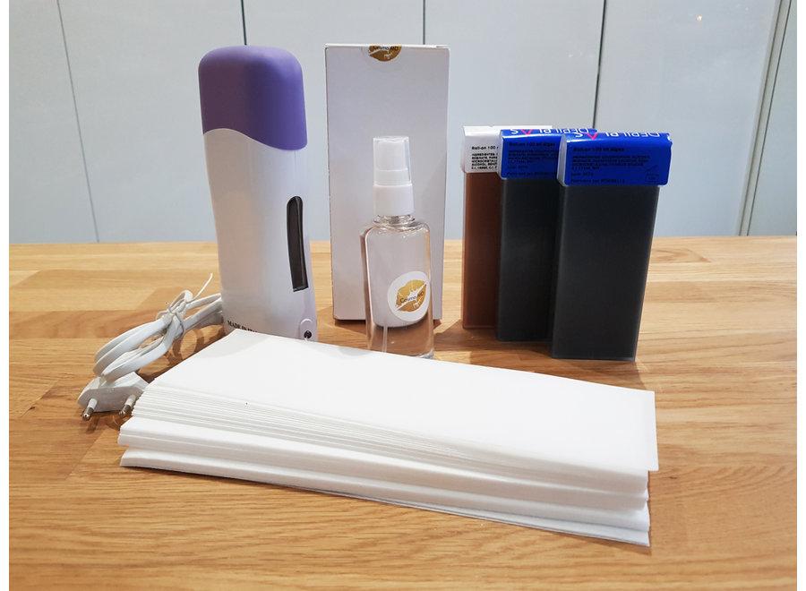 Elektrisch wax ontharings kit voor HEM- wax apparaat 6 in 1 harsen - compleet set met elektrische hars verwarmer, 3 hars cartridge, 50 waxstrippen en 100ml postolie.