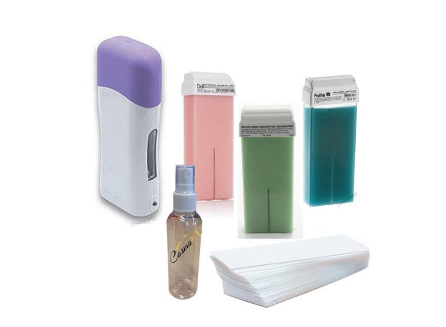 Elektrisch wax ontharings kit - wax apparaat 6 in 1 harsen - compleet set met elektrische hars verwarmer, 3 hars cartridge, 50 waxstrippen en 100ml postolie.