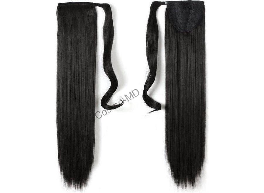 Wrap Around Ponytail  (Steil) 55cm (Synthetisch haar), kleur - Natural Black - 2