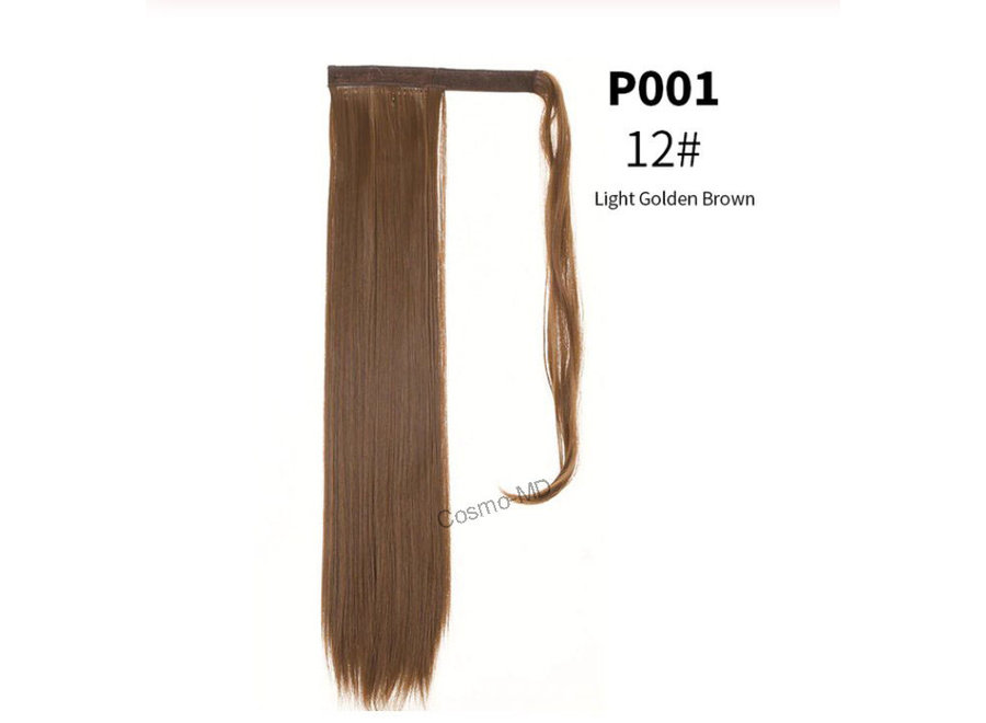 Wrap Around Ponytail  (Steil) 55cm (Synthetisch haar), kleur - Light Golden Brown - 12