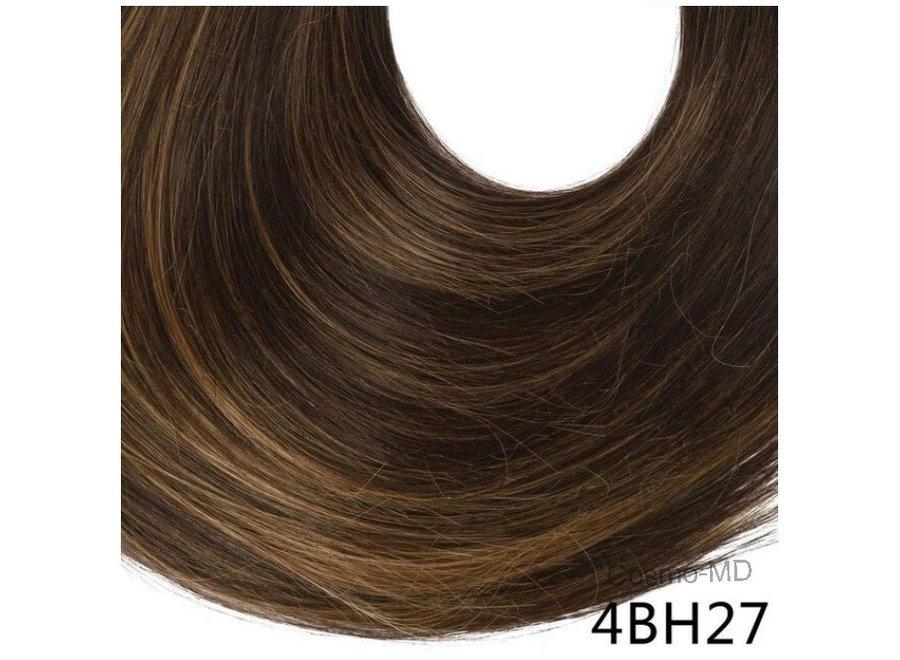 Wrap Around Ponytail  (Steil) 55cm (Synthetisch haar), kleur - Dark brown/ light brown highlight - 4BH27