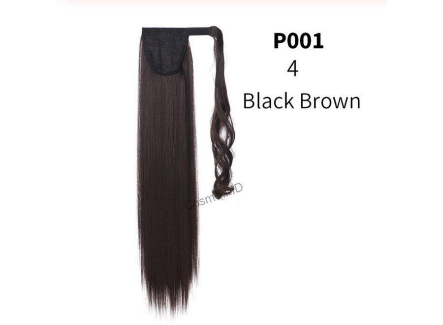 Wrap Around Ponytail  (Steil) 55cm (Synthetisch haar), kleur - Black Brown - 4