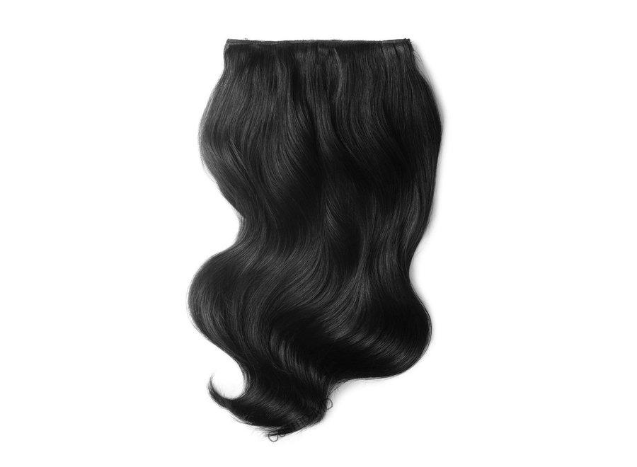 Clip in haarextensions (Steil) 50cm (180gram), kleur #1B - Off/Natural Black