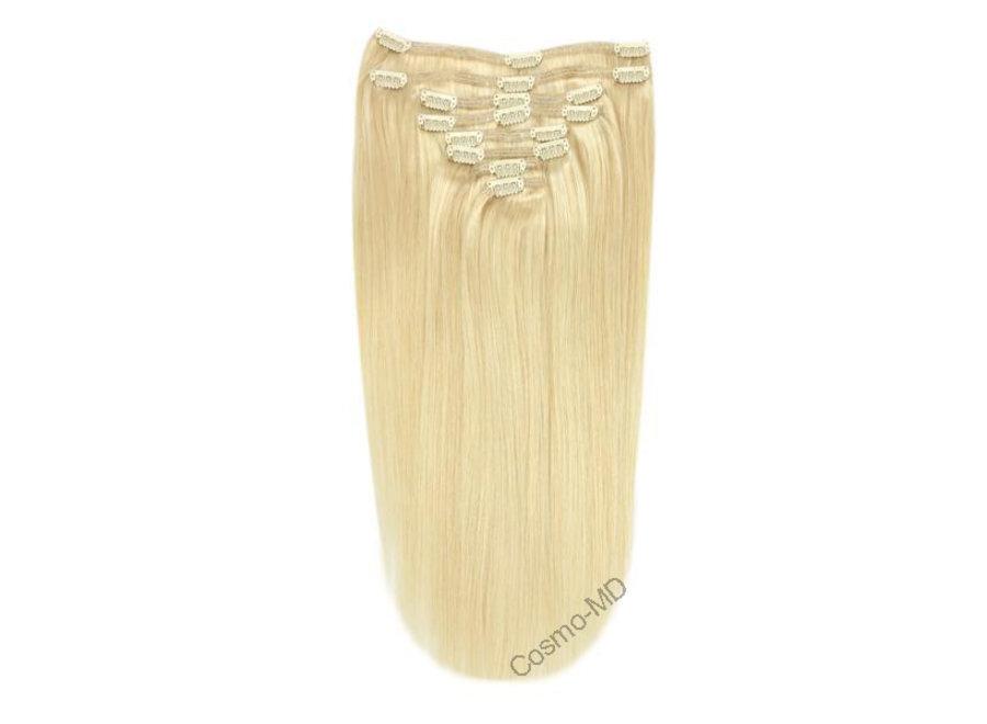 Clip in haarextensions (Steil) 50cm (180 gram), kleur #613 - Bleach Blonde