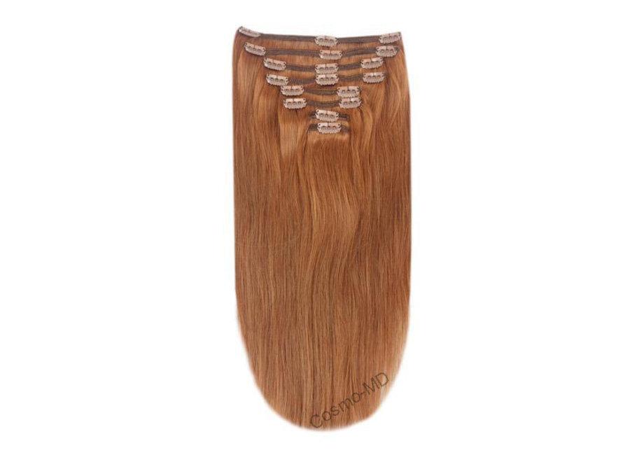 Clip in haarextensions (Steil) 50cm (180 gram), kleur #30 - Light Auburn