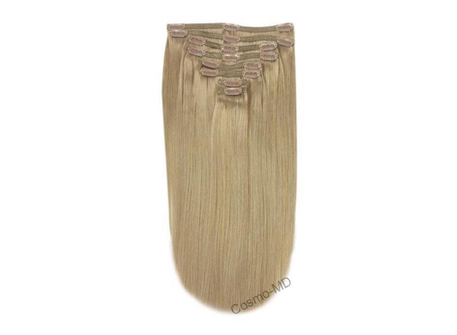 Clip in haarextensions (Steil) 50cm (180 gram), kleur #18 - Lightest Brown