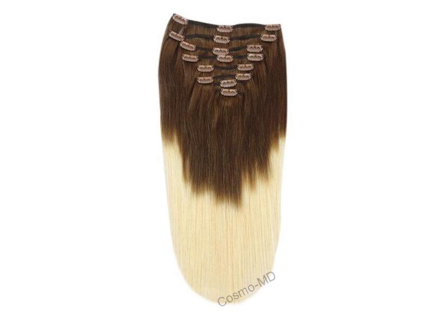 Clip in haarextensions (Steil) 45cm (180 gram), kleur #T4/613 - Ombre