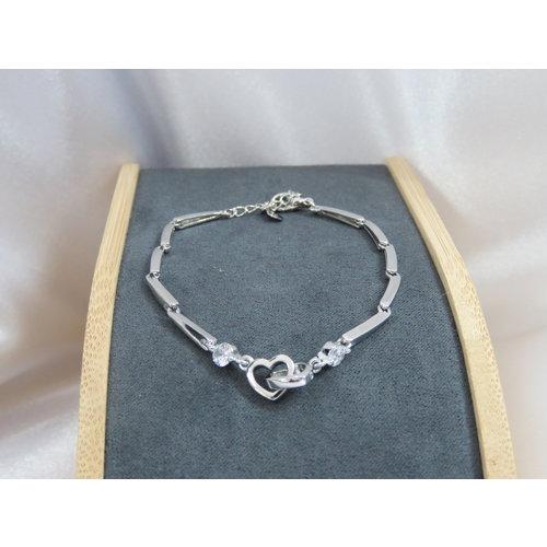 HYKS armbanden Zilveren 925 Armband met witte zirkonia's en verstelbare sluiting