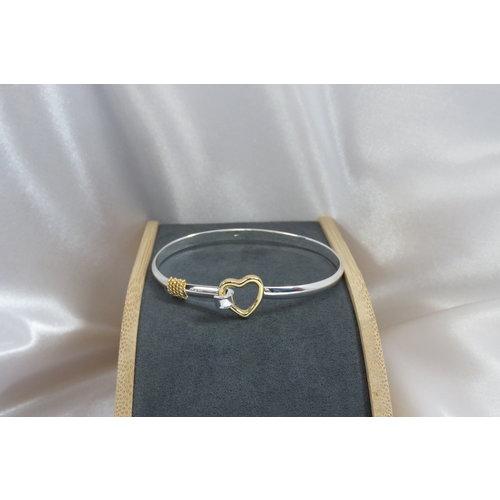 HYKS armbanden Zilveren 925 Bangle armband met hartjes sluiting