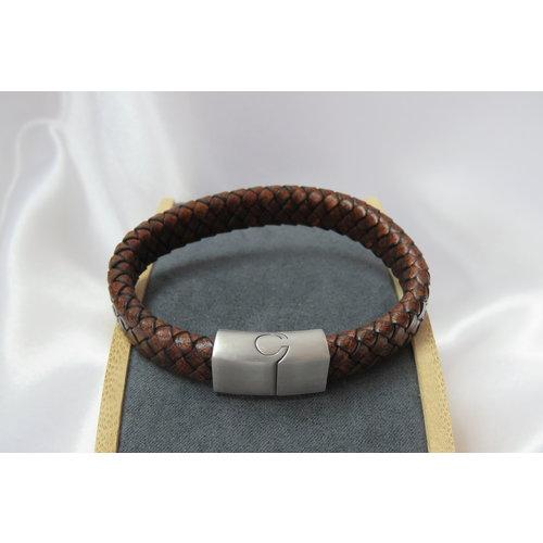 HYKS armbanden Leren Armband met stalen sluiting