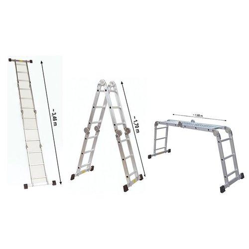 Haushalt International Alu-Werkladder met werkplatform - 4x3 treden