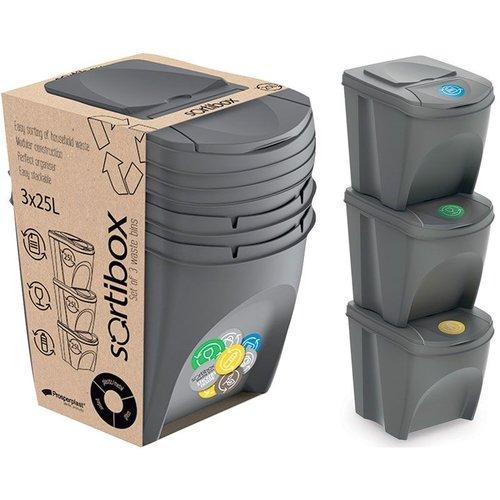 Afvalscheidingsbak - stapelbaar - 3 stuks