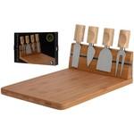 Excellent Houseware Bamboe kaasplank met 4 kaasmessen