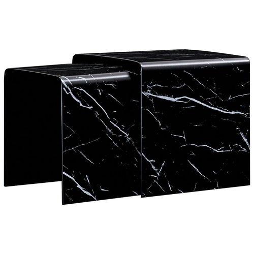 2-delige Salontafelset marmereffect 42x42x41,5 cm gehard glas