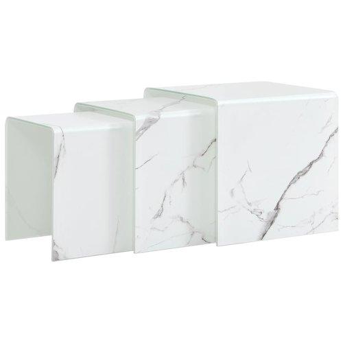 3-delige Salontafelset marmereffect 42x42x41,5 cm gehard glas