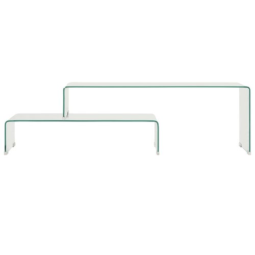 2-delige salontafelset 90x30x20/110x30x40 cm gehard glas