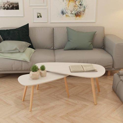 2-delige Salontafelset massief grenenhout wit