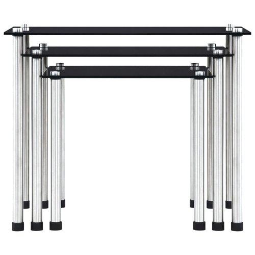 3-delige Tafeltjesset gehard glas zwart