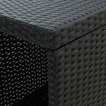 Bartafel met opbergrek 120x60x110 cm poly rattan zwart