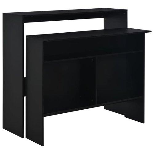 Bartafel met 2 tafelbladen 130x40x120 cm zwart