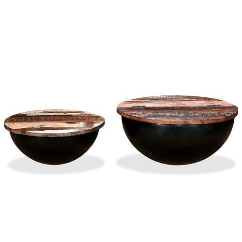 2-delige Salontafelset komvormig massief gerecycled hout zwart