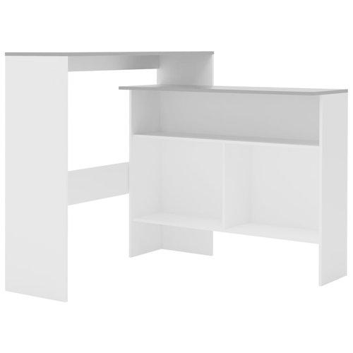 Bartafel met 2 tafelbladen 130x40x120 cm wit en grijs