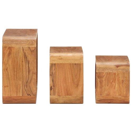 3-delige Bijzettafelset acaciahout met sheesham-afwerking