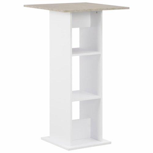Bartafel 60x60x110 cm wit en betonkleurig