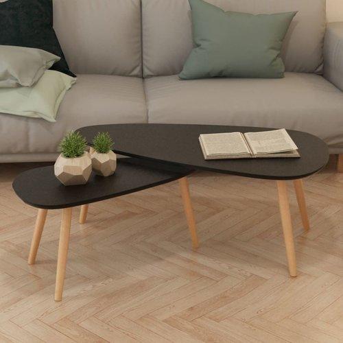 2-delige Salontafelset massief grenenhout zwart