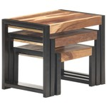 3-delige Tafeltjesset massief hout met sheesham afwerking