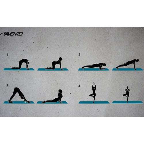 Avento Fitnessmat met print neopreen zwart en grijs