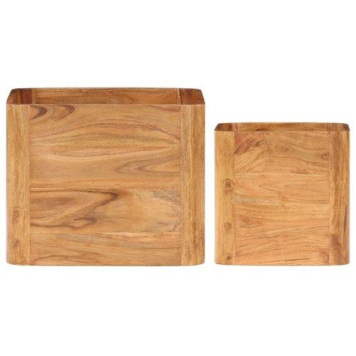 2-delige Bijzettafelset acaciahout met sheesham-afwerking