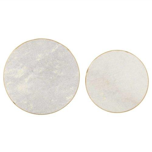 2-delige Salontafelset marmer messingkleurig en wit