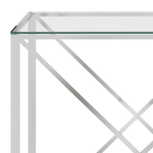 Bijzettafel 140x40x78 cm roestvrij staal en glas zilverkleurig