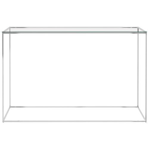 Bijzettafel 120x40x78 cm roestvrij staal en glas zilverkleurig