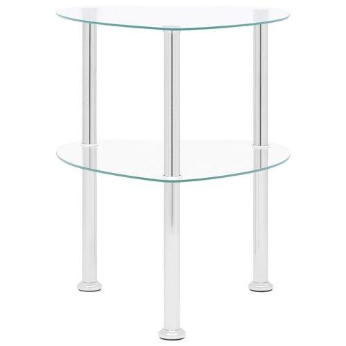 Bijzettafel 2-laags 38x38x50 cm gehard glas transparant