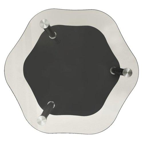 Bijzettafel 2-laags 38x38x50 cm gehard glas transparant zwart