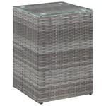 3-delige Bijzettafelset met glazen blad poly rattan grijs