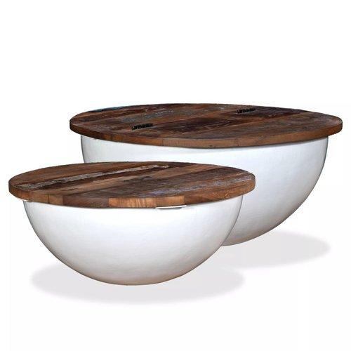 2-delige Salontafelset komvormig massief gerecycled hout wit