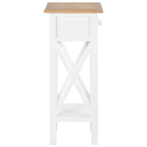 Bijzettafel 27x27x65,5 cm hout wit