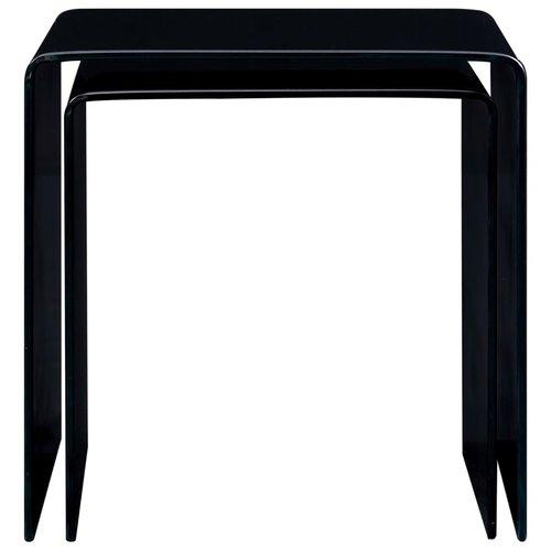 2-delige Salontafelset 42x42x41,5 cm gehard glas zwart