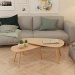 2-delige Salontafelset massief grenenhout bruin