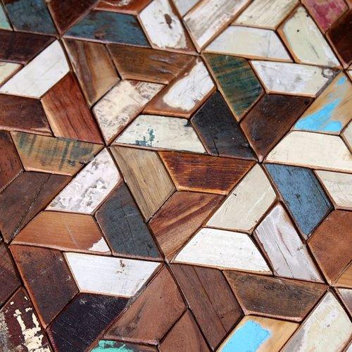 3-delige Salontafelset massief gerecycled hout
