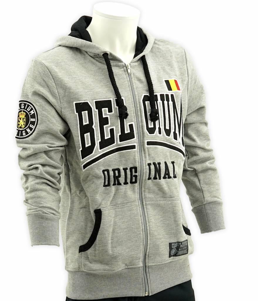 Grey hoodie Belgium with zipper