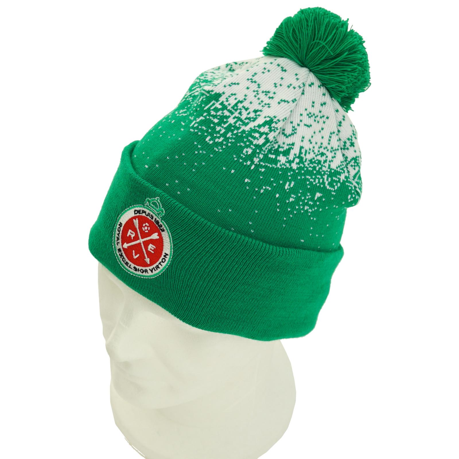 Beanie winter green-white