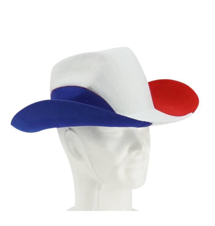 Cowboyhoed blauw-wit-rood