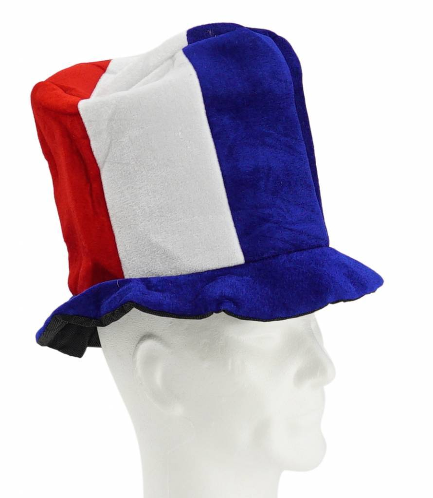 Hoge hoed blauw-wit-rood